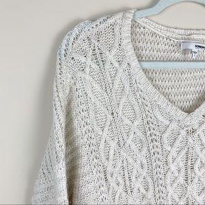 Sonoma Chunky Knit Ivory V-neck Sweater LG